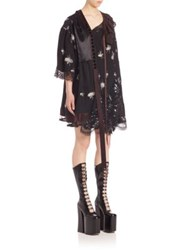 Marc Jacobs Elbow Length Sleeve Printed Shift Dress Black Multi