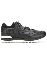 Les Hommes Stitched Panel Sneakers Black