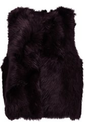 Karl Donoghue Foxy Shearling Vest Dark Purple