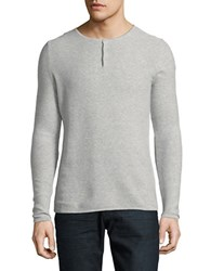Highline Collective Solid Long Sleeve Henley Tee Light Grey