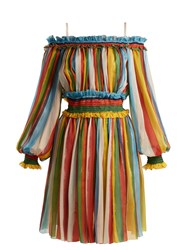Dolce And Gabbana Striped Silk Chiffon Off The Shoulder Dress Multi
