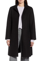 Halogen Raw Edge Wool Blend Clutch Coat Black