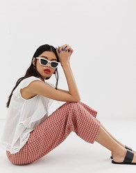 Mango Check Trouser In Red