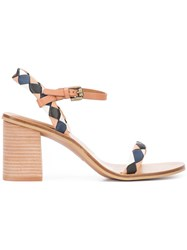 See By Chloe Diamond Patch Heeled Sandals Women Leather Rubber 40.5 Brown