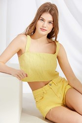Urban Renewal Remnants Structured Striped Cropped Top Yellow