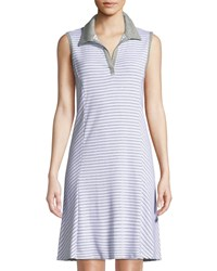 Three Dots Sleeveless Striped Polo Dress Multi
