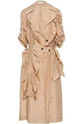 Victoria Beckham Double Breasted Silk Trench Coat Beige