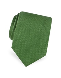 Forzieri Gold Line Solid Woven Silk Tie Green