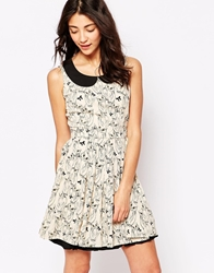 Yumi Owl Print Dress Cream