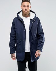 Asos Parka Jacket With Removable Borg Lining In Navy Navy