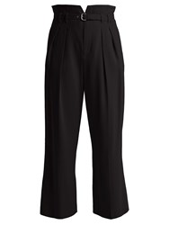 Red Valentino High Rise Straight Leg Crepe Trousers Black
