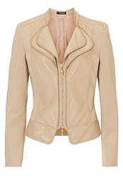 Betty Barclay Pleather And Jersey Biker Jacket Beige