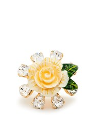 Dolce And Gabbana Crystal Embellished Floral Ring White
