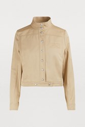 Courreges Cropped Cotton Jacket Beige