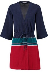 Orlebar Brown Betty Striped Cotton Robe Navy