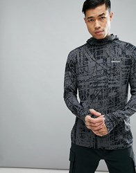 Marmot Harrier Baselayer Hoodie In Dark Grey Print Slate Grey Structure
