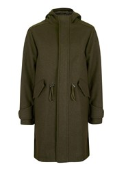 Topman Men's Khaki Longline Fishtail Military Parka Green