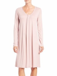 Hanro Astrid Long Sleeve Gown Rose Dust