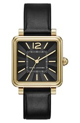 Marc Jacobs Women's 'Vic' Leather Strap Watch 30Mm Black Gold