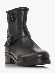 Bertie Prescot Studded Buckle Ankle Boots Black Leather