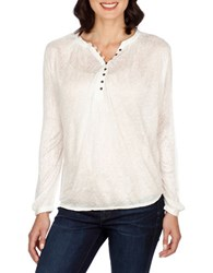 Lucky Brand Mix Knit Floral Top Whisper White
