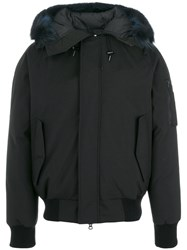 Kenzo Racoon Fur Trim Hooded Coat Men Feather Down Acrylic Nylon Racoon Fur L Black