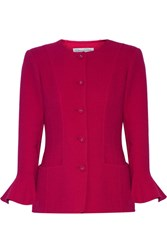 Oscar De La Renta Stretch Wool Blend Jacket Magenta