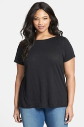 Eileen Fisher Organic Linen Boatneck Tee Plus Size Black