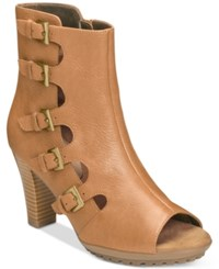 Aerosoles Mirage Booties Women's Shoes Tan Leather