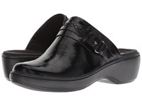 Clarks Delana Amber Black Patent Leather Clog Shoes