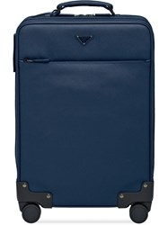 Prada Saffiano Leather Wheeled Carry On Blue