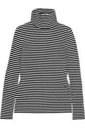 J.Crew Tissue Striped Cotton Jersey Turtleneck Top Black