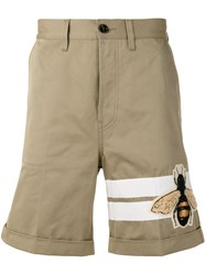 Gucci Bee Patch Flared Shorts Nude Neutrals