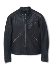 Mango Martin Leather Biker Jacket Dark Brown