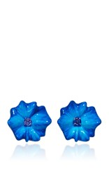 Sabbadini Flower Collection Round Cut Tanzanite Earrings In Blue