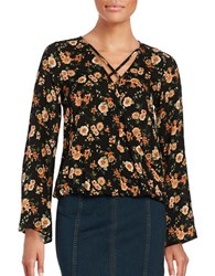 Design Lab Lord And Taylor Floral Wrap Top Black