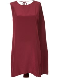 Kacey Devlin Deconstructed Neck Tie Dress Silk Red
