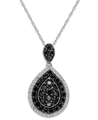 Macy's Sterling Silver Black And White Diamond Pear Shape Pendant