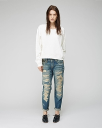 R 13 Relaxed Skinny Jean Selvedge Blue
