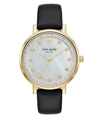 Kate Spade Monterey Mother Of Pearl Dial Stainless Steel And Leather Strap Watch Ksw1206 Black
