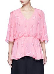 Emilio Pucci Feather Embroidery Batwing Cape Top Pink