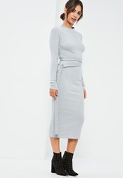 Missguided Grey D Ring Belted Ribbed Midi Dress
