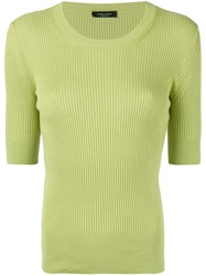 Roberto Collina Fitted Ribbed T Shirt Women Cotton S Green