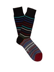 Paul Smith Echo Striped Cotton Blend Socks Black Multi