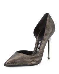 Tom Ford Python Half D'orsay Pump Gunmetal