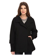 Calvin Klein Asymmetrical One Button Coat W Knit Sleeve Black Basket Women's Coat