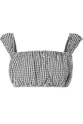 Solid And Striped Off The Shoulder Cropped Gingham Seersucker Top Black