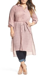 Elvi Plus Size Women's High Low Shirtdress Pink