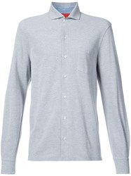 Isaia Front Button Shirt Grey