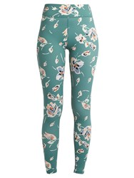 The Upside Deep Sea Floral Print Performance Leggings Green Print